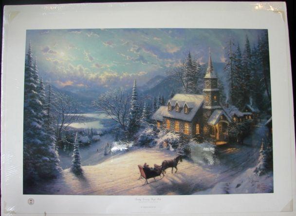 Thomas Kincade Limited Edition Print Sunday Evening Sleigh Ride Moonlit Village II Series Original 444/2850 Rare