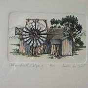 "Fine Art Limited Edition Vintage Print ""Old Windmill Calgary"" Andors Van Groot"