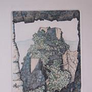 "Fine Art Limited Edition Vintage Print ""Borgia Castle Spain"" Andors Van Groot"