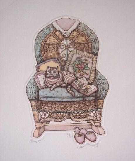 "Alice Scott Morris Fine Art Limited Edition Cat Print ""Break Time"" Vintage Etching"