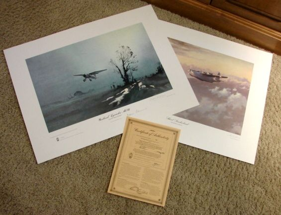 "Set Aviation WWII Limited Edition Prints John Young ""Evening Patrol"" & Denis Pannett ""Night Operations"" & COA 1979 British Spy signed"