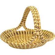 Charleston Sweetgrass Basket, Oval with Handle, Handmade African American Folk Art