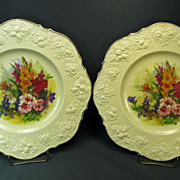 Pair of Vintage Crown Ducal England Cabinet Plates with Flowers