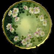 Antique Victorian Apple Blossoms Limoges Charger, Artist Signed