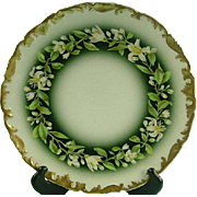 T&V Limoges Cabinet Plate, Gold Encrusted with Flowers