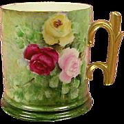 Limoges Pouyat Roses Mug with Gold Rose Stem Handle
