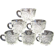 Set of 6 Slewed Horseshoe Punch Cups, Clear Handles