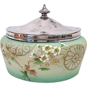 Signed Pairpoint Hand Painted Oval Biscuit Jar or Jewel Box with Silver Lid