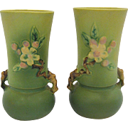 Pair of Roseville Pottery Apple Blossom Vases
