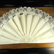Lace Edged Half Circle Buffet Flatware Holder