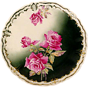 Hand Painted Victorian Rose Plate, Charger, Signed