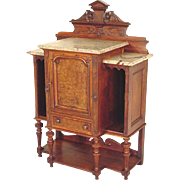 Victorian Marble Top Console, Credenza, Parlor Cabinet