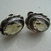 Vintage Silver Smokey Quartz Screw Back Earrings
