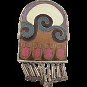"Vintage Hand Made ""1960's"" Enamel On Copper Brooch/Pendant"