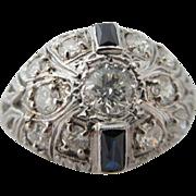 Fabulous Antique Platinum Sapphire And Diamond Dome Ring