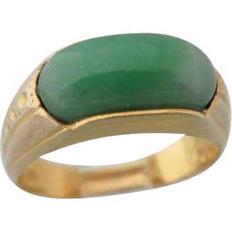 "Vintage 14 Kt ""A"" Grade Chinese Jade Ring"