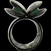 Vintage  Kupitaan Kulta Finnish Modernist Sterling Ring With Chrysoprase Spheres