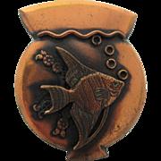 Roslyn Hoffman Vintage 1950's Copper Brooch / Pendant With Matching Screw Back Earrings