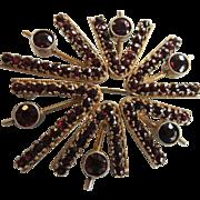 Unusual Vintage Modernist Mid Century Silver Gilt Bohemian Garnet Brooch