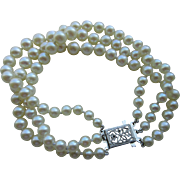 Cultured Pearl And 10 Kt White Gold Clasp Vintage Three Strand Bracelet