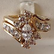 SALE 14K Gold Marquis Diamond Wedding Set