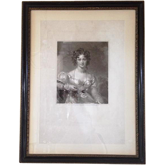 Antique Engraving of A beautiful Young Woman –Sir Thomas Lawrence-Samuel Cousins- 1827