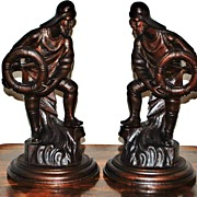 Pair of Carved Wooden Sailor Figurines, c. 1900