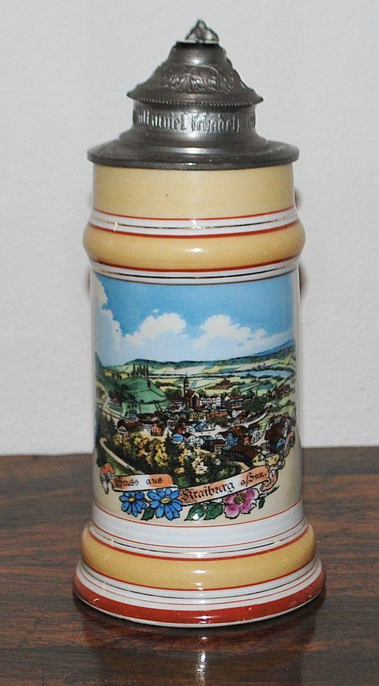 German Porcelain Lithophane 1/2L Stein, c. 1900
