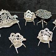 Dutch 19th C Miniature Silver Parlor Suite - Doll House