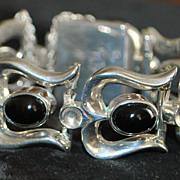 Heavy Classic Sterling Silver Stirrup Bracelet, 1980's
