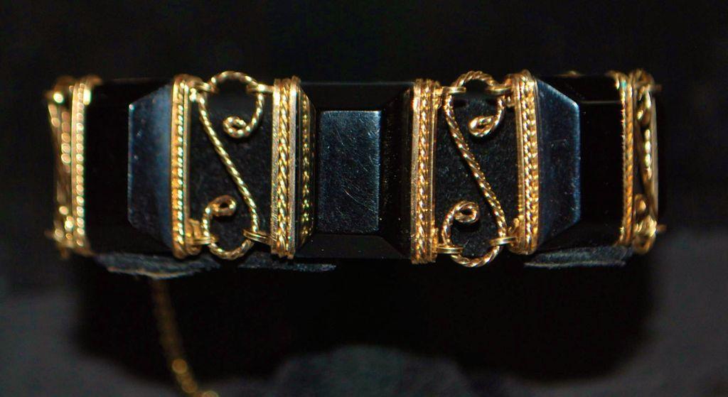 14K Retro Black Bakelite and Gold Bracelet, 1940's