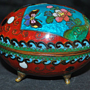 Japanese Meiji Cloisonne Egg Box, 1890-1900