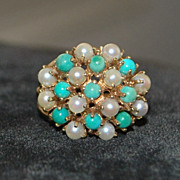 14k Retro Persian Turquoise and Cultured Pearl Ring, 1940's