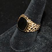14K Man's Black Onyx Nugget Style Ring, 1970's