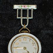 Art Deco Lady's White Enamel Lapel Watch, 1920's