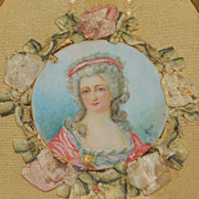 French 19th Century Framed Miniature Portrait of a Lady