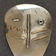 14K / Sterling Large Custom MAde Mask Brooch - 1990