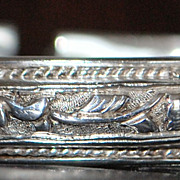 Chinese Silver Engraved Bangle - 1920's