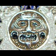 Castelan Sterling and Enamel Large Mask Brooch / Pendant - 1950's