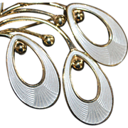 Large White Guilloche Enamel and Sterling Silver Brooch