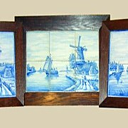 "Set of 3 ""Delft"" Framed Tiles"