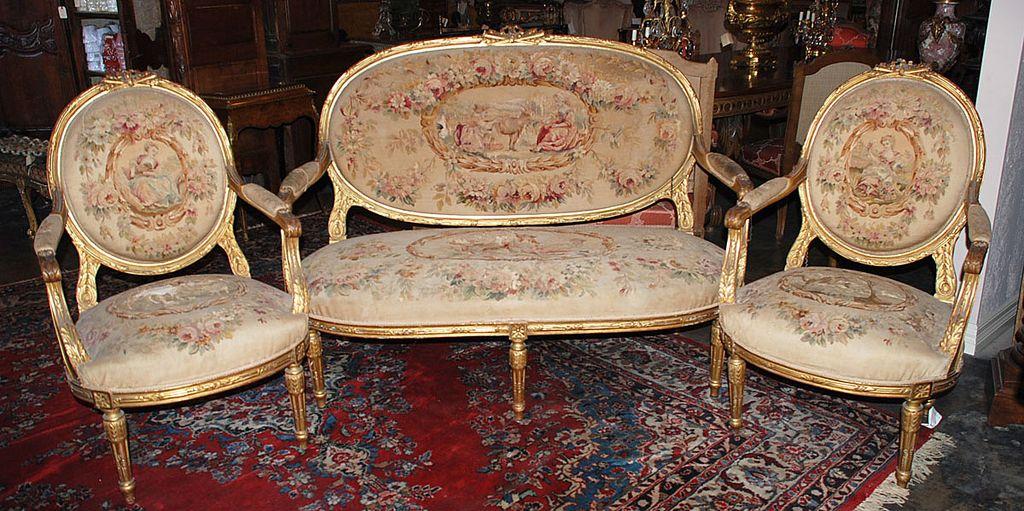 Louis XVI Gilded Salon Set