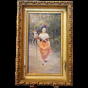 "Beautiful Oil on Panel ""Scène Galante"",Alonso-Perez"