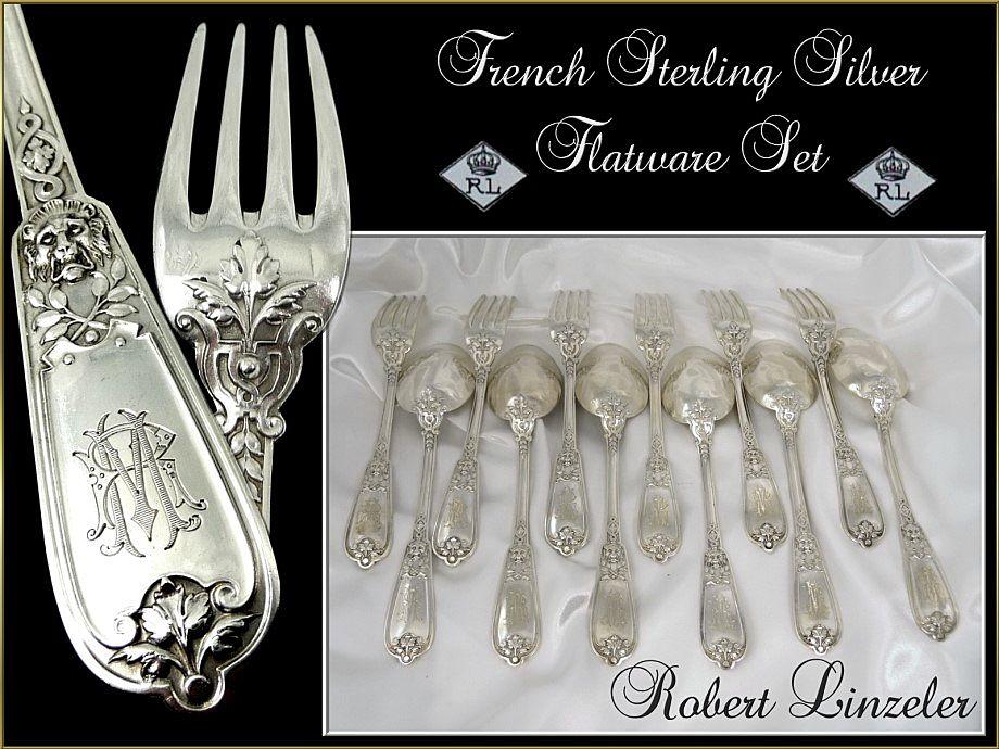 French Sterling Silver Flatware Set - Lion Head- for 6. R. Linzeler