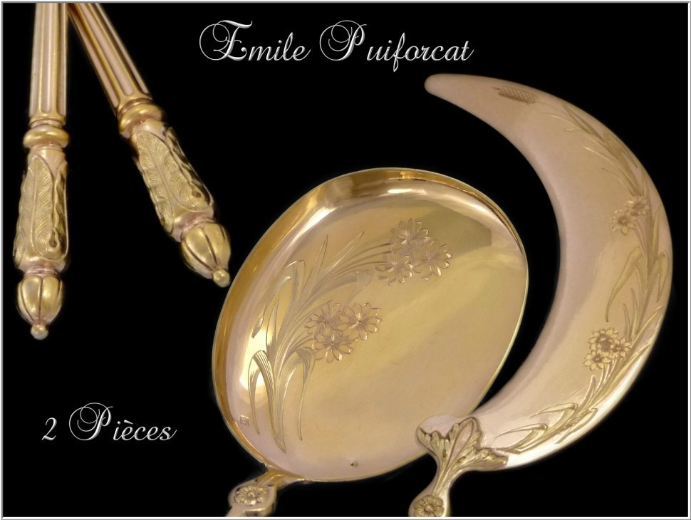 Puiforcat ; Sterling Silver and Vermeil Ice Cream  Serving 2 Pieces & Box
