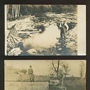 Vintage Real Photo Fishing Postcard Pair
