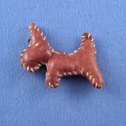 Hand Sewn Leather Scottie Pin