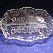 Cambridge Wildflower Clear 3-Part Oval Relish Dish