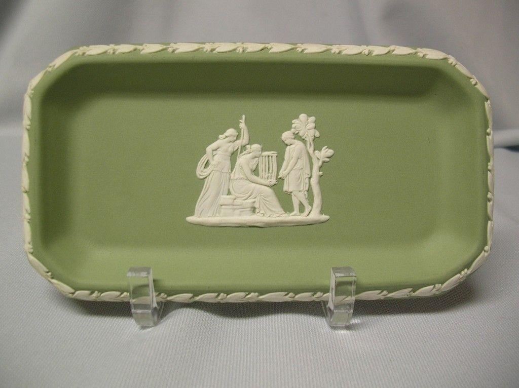 Wedgwood Sage Jasperware Small Oblong Tray