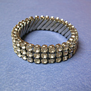 Flexible Silvertone Clear Rhinestone Bracelet